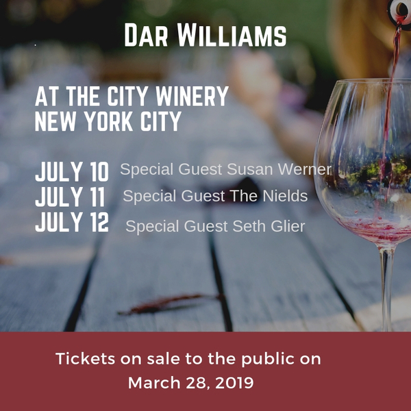 Dar to perform three nights with friends at the City Winery - NYC in July
